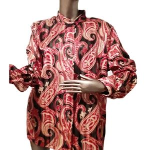Alfred Dunner Black & Red Paisley Blouse Sz 16